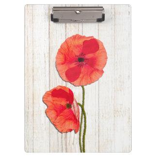Red poppies barn wood background poppy barn wood clipboard