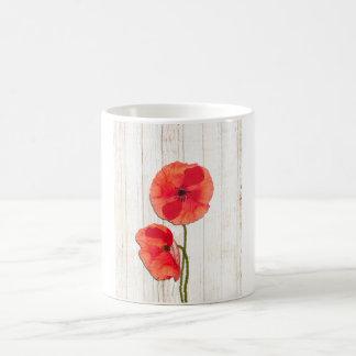 Red poppies barn wood background poppy barn wood coffee mug