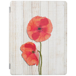 Red poppies barn wood background poppy barn wood iPad smart cover
