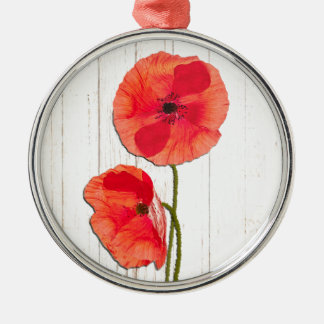 Red poppies barn wood background poppy barn wood metal ornament