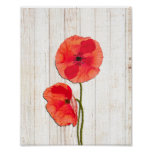 Red poppies barn wood background poppy barn wood poster