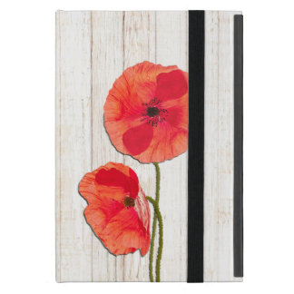 Red poppies barn wood background poppy flowers case for iPad mini
