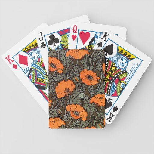 Red Poppies Bicycle Playing Cards