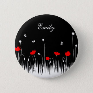 Red poppies black background button