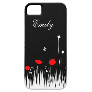 Red poppies black background iPhone 5 cover