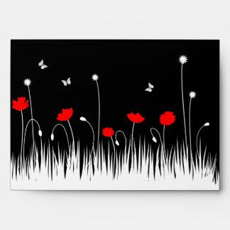 Red poppies black background envelope