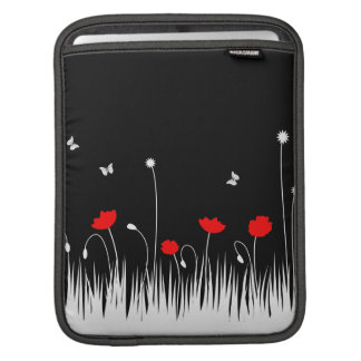 Red poppies black background iPad sleeve