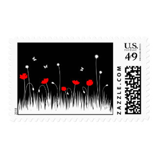 Red poppies black background postage