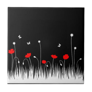 Red poppies black background tile