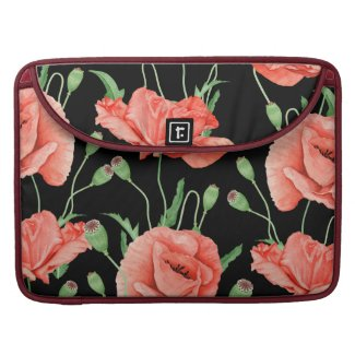 Red Poppies Black Stripes Chic MacBook Pro Sleeve
