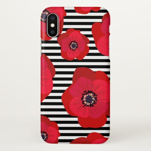 Red Poppies & Black Stripes Phone Case