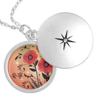 "Red poppies black ""Tranquility"" Round Locket Necklace"