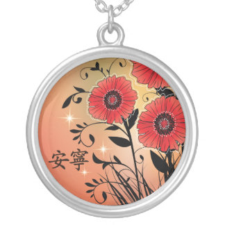 "Red poppies black ""Tranquility"" Round Pendant Necklace"
