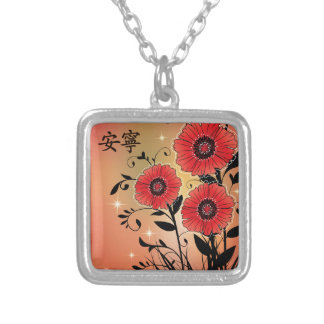 "Red poppies black ""Tranquility"" Square Pendant Necklace"