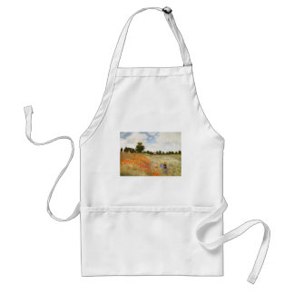 Red Poppies Blooming - Claude Monet Adult Apron