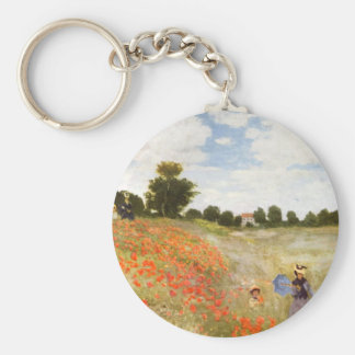 Red Poppies Blooming - Claude Monet Keychain
