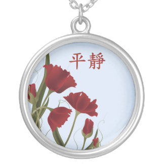 "Red poppies blue ""Serenity"" Round Pendant Necklace"