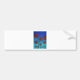 Red Poppies blue sky Bumper Sticker