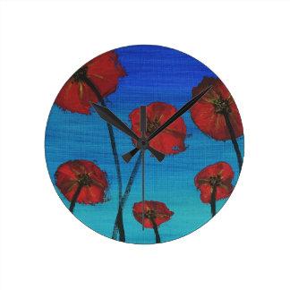 Red Poppies blue sky Wallclocks