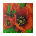 Red Poppies Ceramic Tile