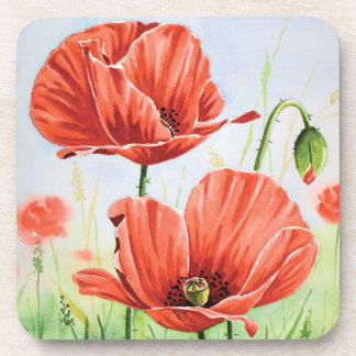 Red poppies coaster