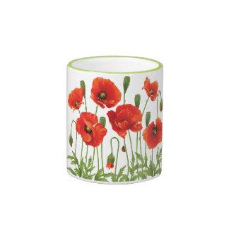 Red Poppies Coffee Mug Ukrainian Design