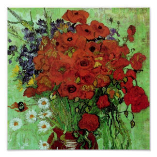 Red Poppies & Daisies (F280) Van Gogh Fine Art Poster