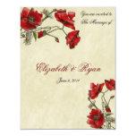 Red Poppies Elegant Wedding Invitation