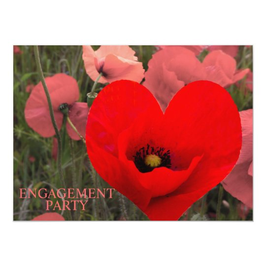 Red Poppies Engagement Party Invitation