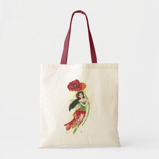 Red Poppies Fairy tote bag Meredith Dillman