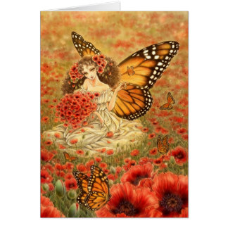 Red Poppies Fantasy Art Greeting Card