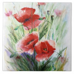 "Red Poppies, Fine Watercolor by N.Stangrit Ceramic Tile<br><div class=""desc"">Fine art Poppies or flowers this is a great image for you.</div>"
