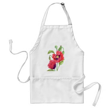 Red Poppies Floral Art Adult Apron