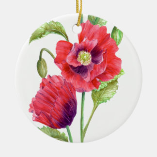 Red Poppies Floral Art Ceramic Ornament
