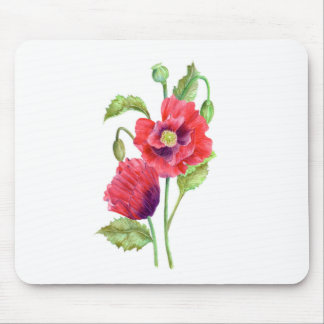 Red Poppies Floral Art Mouse Pad