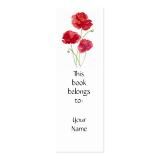 Red Poppies, Floral, Calendar  Book Mark Business Card