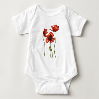 Red Poppies Floral Design Baby Bodysuit