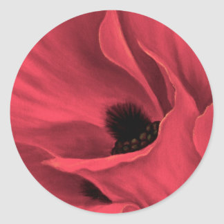 Red Poppies Flower Art Painting - Multi Classic Round Sticker