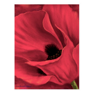 Red Poppies Flower Art Painting - Multi Postcard