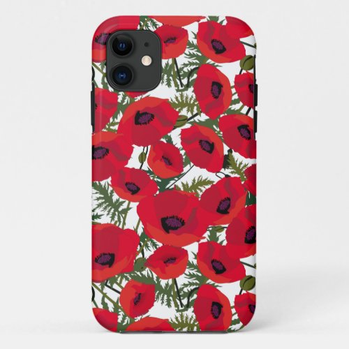 Red Poppies Flower Pattern Phone Case