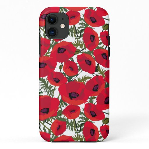 Red Poppies Flower Pattern iPhone 11 Case