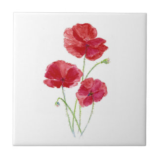 Red Poppies, Garden Flowers, Floral Ceramic Tile