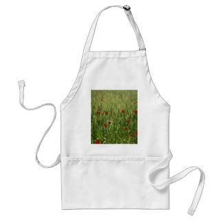 Red Poppies Growing In A Corn Field Adult Apron