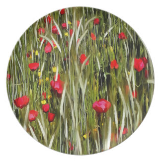 Red Poppies In A Cornfield Melamine Plate