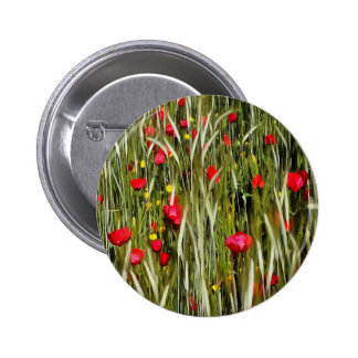 Red Poppies In A Cornfield Pinback Button