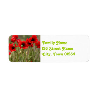 Red Poppies in Poland Return Address Label
