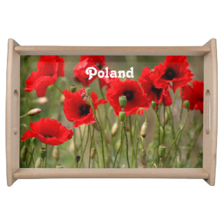 Red Poppies in Poland Serving Tray