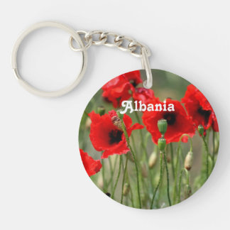 Red Poppies Single-Sided Round Acrylic Keychain