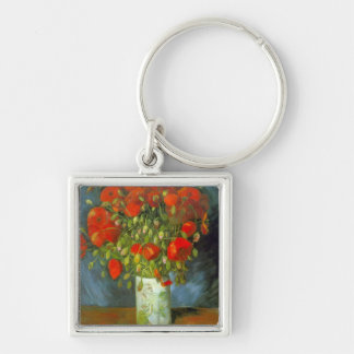 Red Poppies Silver-Colored Square Keychain