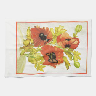 Red poppies towels
